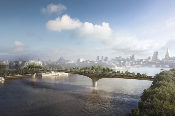 Among the studio's most recent proposals is Garden Bridge, a new pedestrian structure across London's Thames River. The floating garden aims to add a new kind of public space to the city fabric and extends London's rich horticultural heritage.