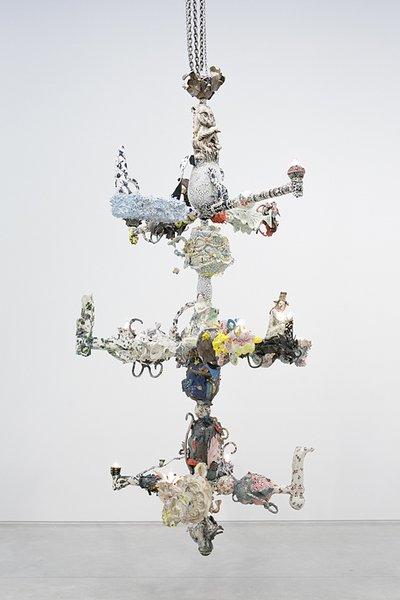 Francesca DiMattio, Chandelabra II, 2015, glaze and luster on porcelain and stoneware, epoxy, steel frame.