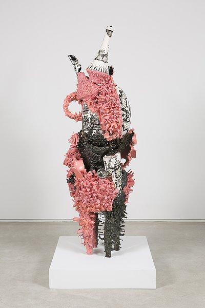 Francesca DiMattio, Fetish Sculpture, 2015, glaze on porcelain and stoneware.