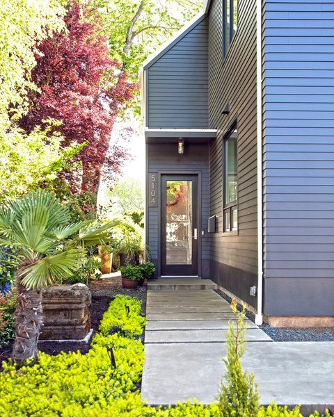 Inexpensive but sturdy James Hardie lap siding was used on the exterior.