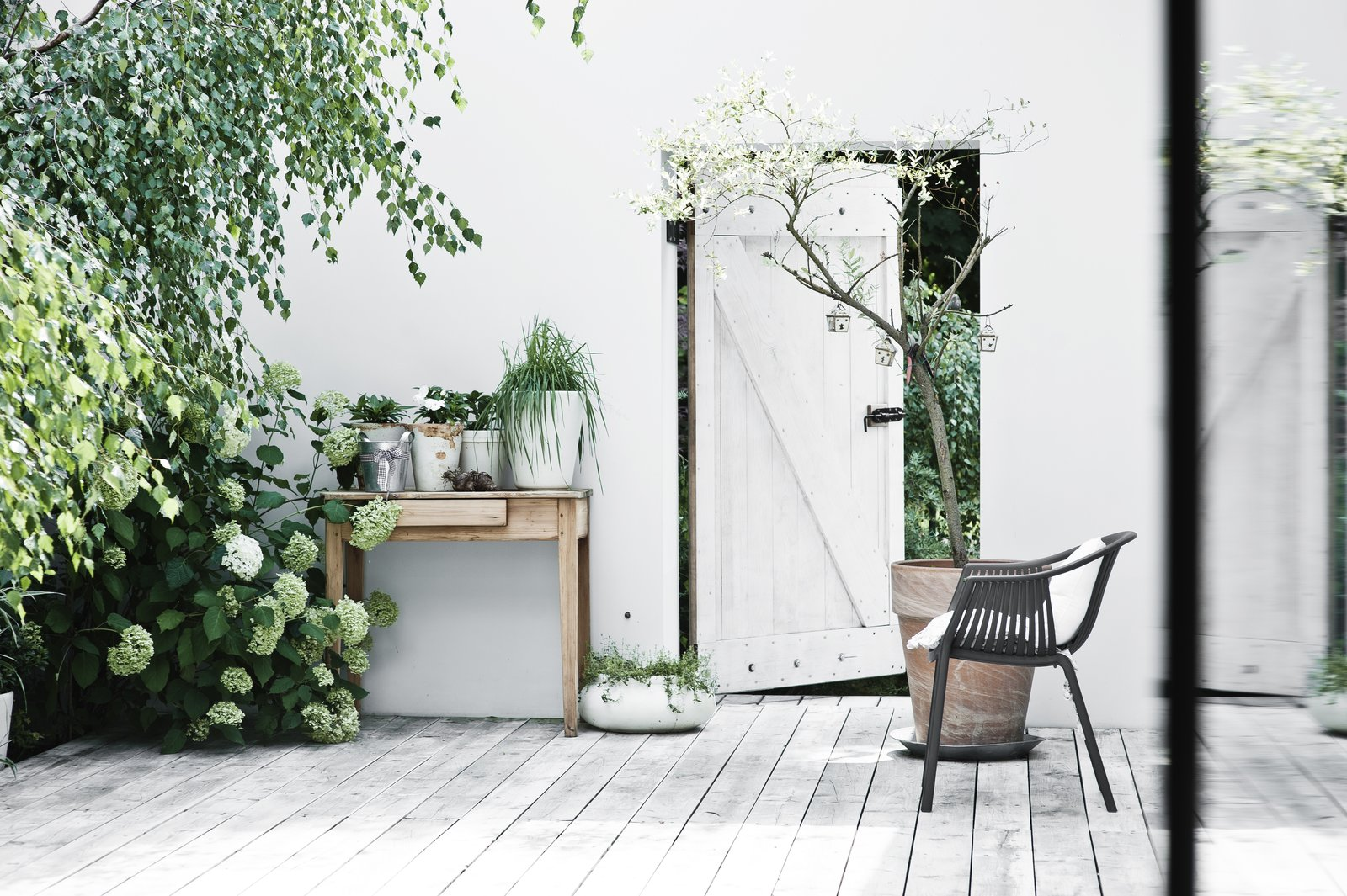 """A door leads out from the romantic courtyard, lush with plants. """"Although we live in a big city, it doesn't feel like it,"""" Kolasiński says. """"The neighborhood and the nature are very relaxing and quiet.""""  Photo 10 of 10 in A Run-Down Farmhouse Becomes a Sleek Modern Retreat"""
