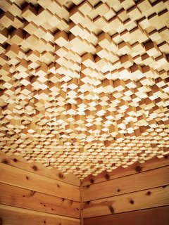 Kartheiser's courtyard also includes a dry sauna with a ceiling made from 2,500 pieces of wood.