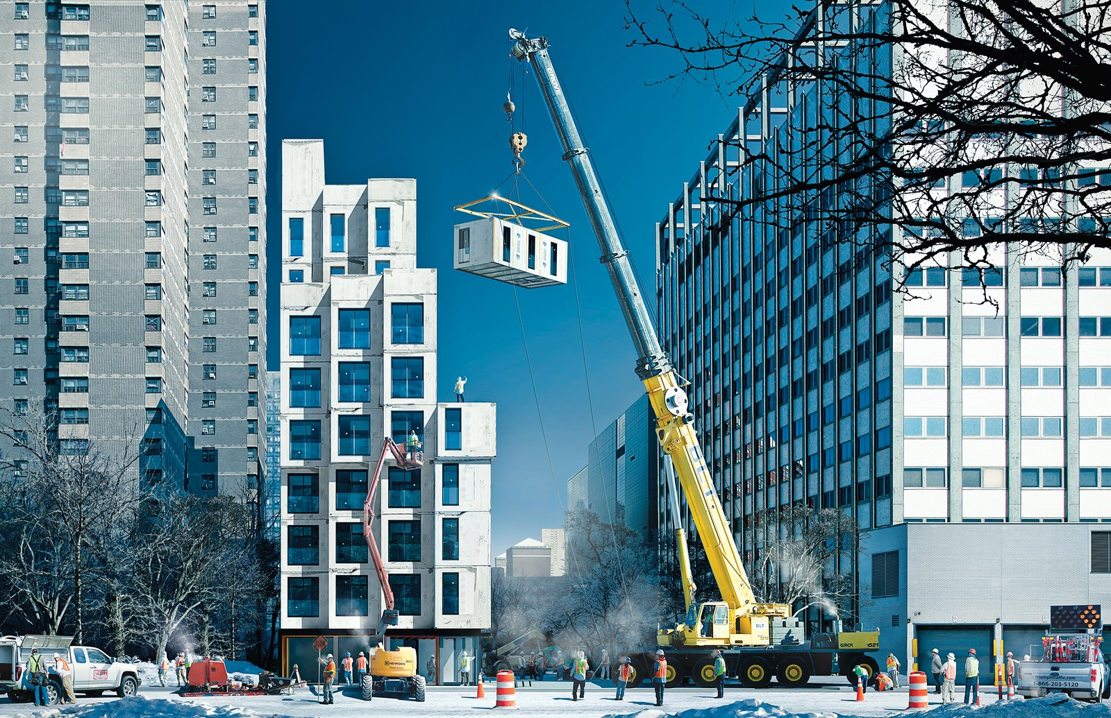 Renderings of their project reveal a building made of 55 modules that will be prefabricated in a factory in the Brooklyn Navy Yard and craned into place on a city-owned lot on East 27th Street in Manhattan.  Photo 5 of 10 in Micro-Dwellings Across America