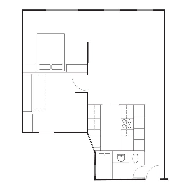 Schmidt-Friedlander Residence Floor Plan  A    Entry  B    Bathroom  C    Kitchen  D    Living Area  E    Kids' Room  F    Master Bedroom