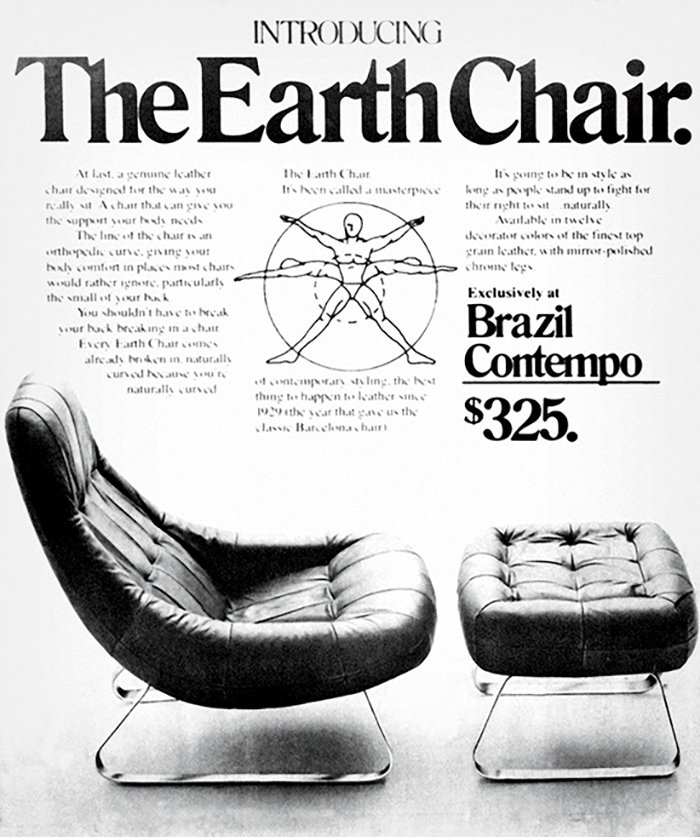 """A late 1970s ad for the MP-163 armchair and footrest (1976): Dubbed the """"Earth Chair"""" by retailer Brazil Contempo, it was Lafer's first design to feature an inner structural steel frame."""