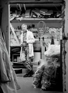 "How the Iconic Tripp Trapp High Chair Came to Life - Photo 1 of 6 - A 2013 portrait of Norwegian furniture designer Peter Opsvik in his workshop, a venue he finds ""more suitable for experiments than the computer."""