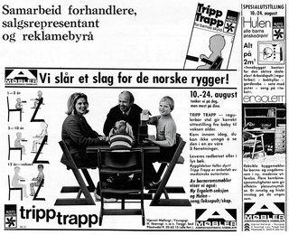 How the Iconic Tripp Trapp High Chair Came to Life - Photo 4 of 6 - Kaare Stokke, owner and CEO of Stokke, which has manufactured the Tripp Trapp since 1972, fronted one of the first marketing campaigns for the chair in 1974. Seated with his wife and children in Opsvik's design, Stokke publicized it as an ergonomic chair for the whole family.