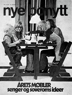 "How the Iconic Tripp Trapp High Chair Came to Life - Photo 6 of 6 - Featured on a 1970s cover of Nye Bonytt (a Norwegian interior magazine now called Bonytt), the Tripp Trapp revolutionized seating for the entire family. Adults and children alike are shown seated in the chair, accompanied by the heading: ""This year's furniture."""