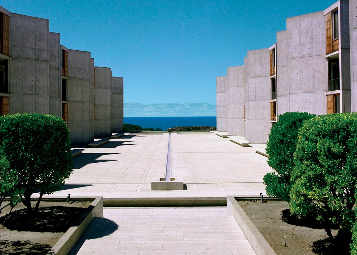 Pallasmaa considers San Diego's Salk Institute an architectural masterpiece for its spiritually inspiring vistas and poetic sense of monumentality. Designed by Louis Kahn, it was completed in 1965.