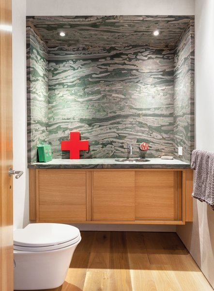Severns put in a glass-block wall to separate the office from the guest bedroom, and created brand-new bathrooms. Photo 3 of Parker Willis House modern home