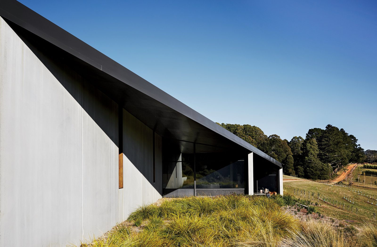 Embedded in the rugged southern Australian landscape, the House at Hanging Rock comprises three volumes connected by a sweeping rhomboid roof. The Colorbond steel overhang is in a dark-gray shade called Monument.