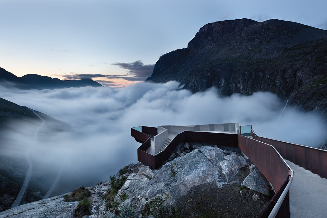 "Along the Geiranger-Trollstigen road in western Norway, Oslo-based Reiulf Ramstad Arkitekter designed a footpath that traverses rocky terrain before terminating at a scenic overlook. ""For me, this is one of the most visionary contemporary architecture projects,"" photographer Ken Schluchtmann says. ""It doesn't destroy the landscape, but is instead fitted perfectly into it."""
