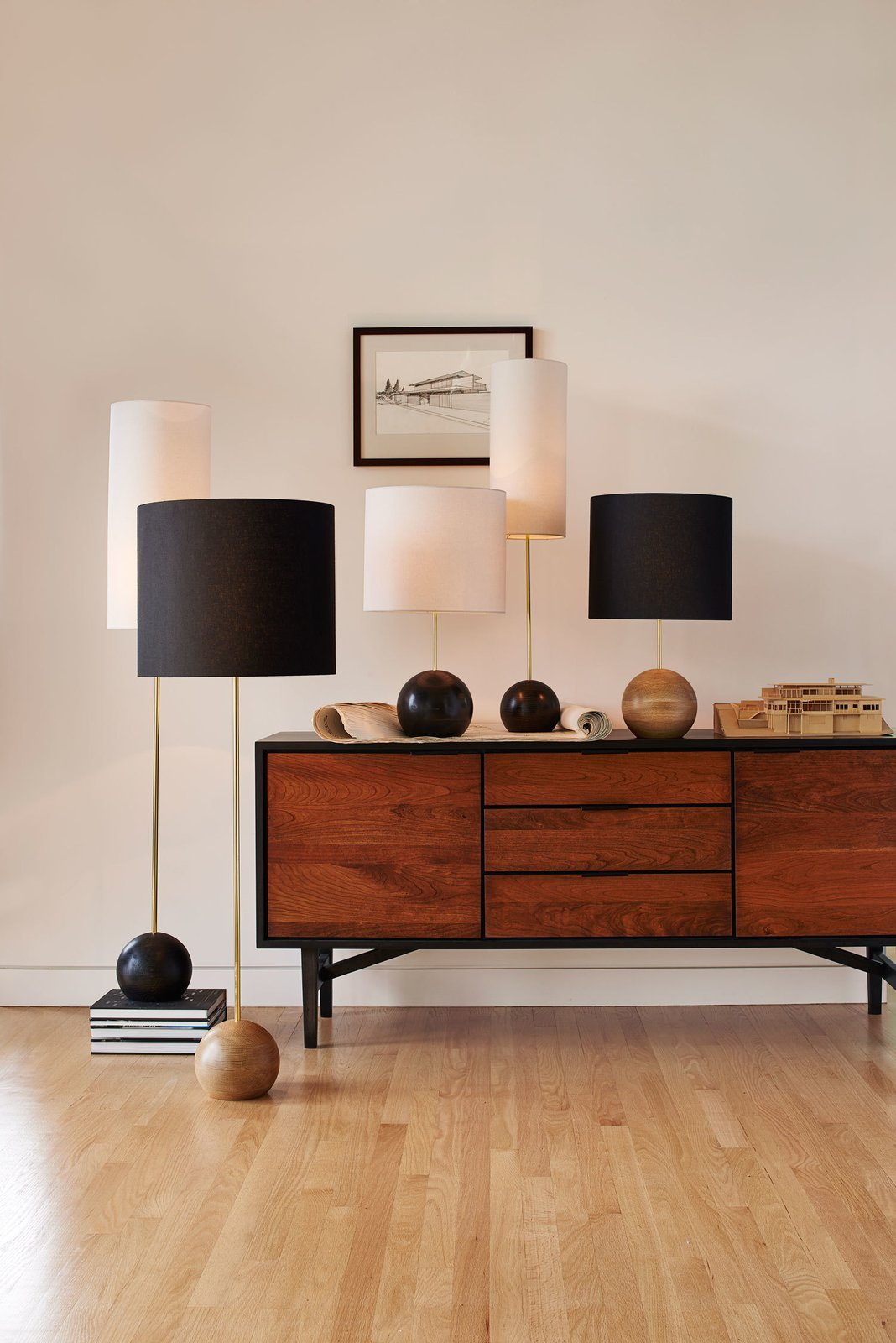 The Stand floor and table lamps, designed by Portland architect Brendon Farrell, feature a sturdy oak base.  Photo 5 of 7 in Classic Modernist House in Portland Inspires a Lighting and Furniture Line