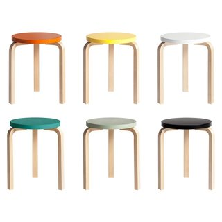 Color Me Mad! - Photo 18 of 31 - A true icon of functionalist furniture design, the Stool 60 was originally designed by Alvar Aalto for Artek in 1933. Notable for the distinctive bend in the legs, the stool became a signature of Aalto's work, as his subsequent furniture designs feature these defined leg bends. This Anniversary edition was released in conjunction with the design's 80th birthday in 2013.