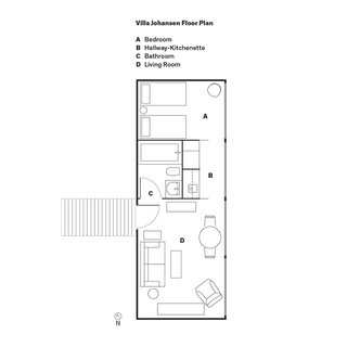 Can You Believe This House Used to be a Dilapidated Toolshed? - Photo 13 of 13 - Villa Johansen Floor Plan<br><br>A    Bedroom<br><br>B    Hallway-Kitchenette<br><br>C    Bathroom<br><br>D    Living Room
