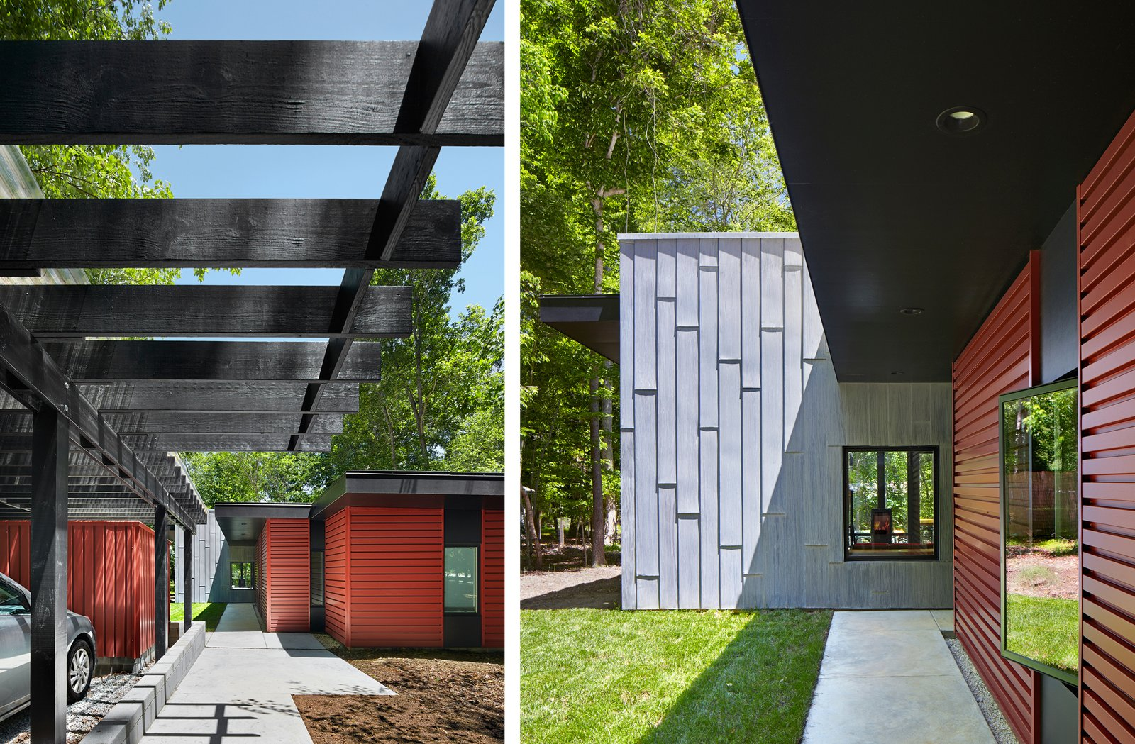 The horizontal orientation of the cement board, painted black, creates a line of vision that leads to the forest, while its deep overhangs help shield the sun. A small lawn, gravel, and native grass weave the wooded setting in the residence's landscape design. This Light-Filled, Metallic Home Embraces Its Wooded Site - Photo 3 of 8