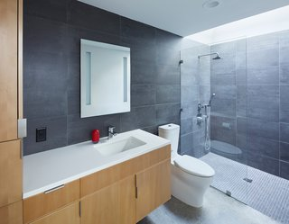 This Light-Filled, Metallic Home Embraces Its Wooded Site - Photo 7 of 8 - Made of stained beech wood with pulls by Mockett, the bathroom vanity was custom-designed by the architects. A Caesarstone counter, Toto sink fixture, Tech Lighting mirror, and Kohler toilet and sink are surrounded by Mosa tiles.