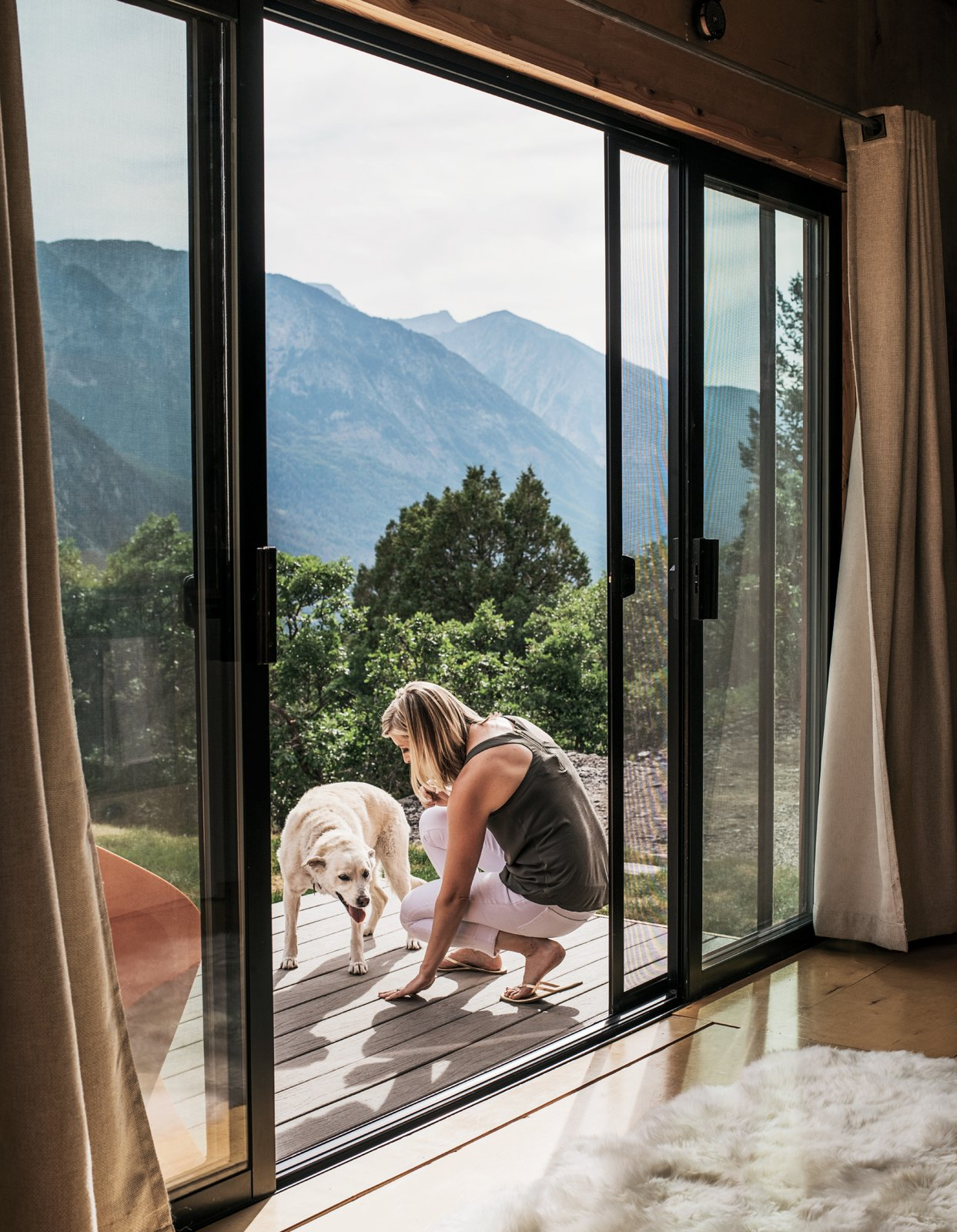 """Milgard sliding doors were added with the future in mind. """"We really wanted it to feel big since we planned to live in it full-time,"""" Brian says."""