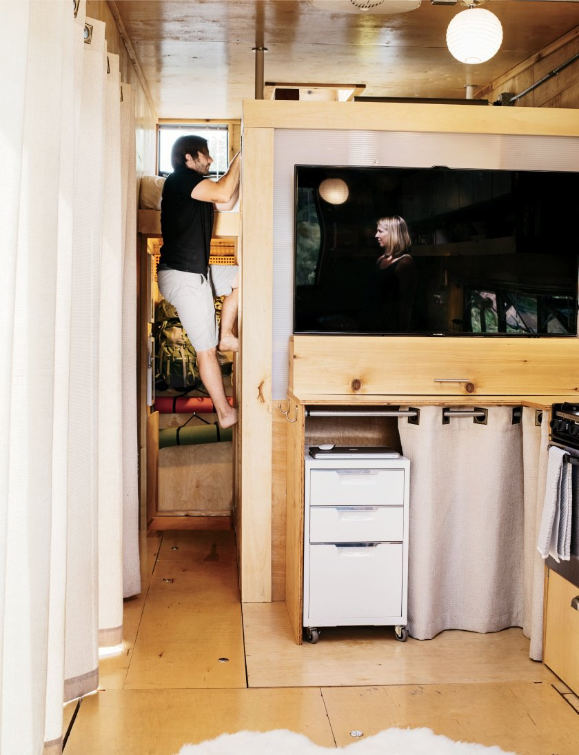 A 55-inch Samsung Smart TV, a gift, is one of few indulgences.  Photo 7 of 13 in How to build a Tiny DIY Trailer on a Budget