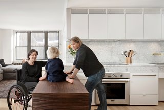 10 Modern Examples That Show How to Use Marble in the Kitchen - Photo 9 of 11 - In renovating the 90-square-foot kitchen of a Boston apartment, architect Chris Greenawalt drew upon both spatial and material solutions to create a pleasing and wheelchair-accessible space to accommodate all three of its tenants.