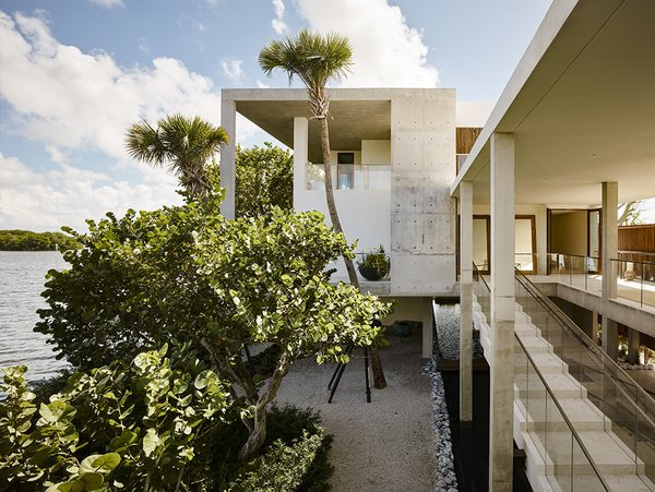 """The landscape was designed by Raymond Jungles to be """"cultivated wild"""" with native trees and grasses amid a bed of oolite stone. Photo 3 of Casa Bahia modern home"""