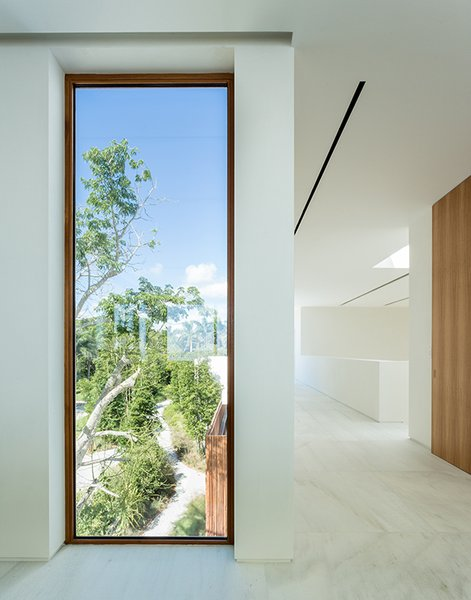 Hurricane-proof windows by Peetz frame the lush landscape. The floors are made from Spanish macael marble, and the walls feature hand-applied matte Italian microplaster designed to mirror the appearance of clouds. Photo 6 of Casa Bahia modern home