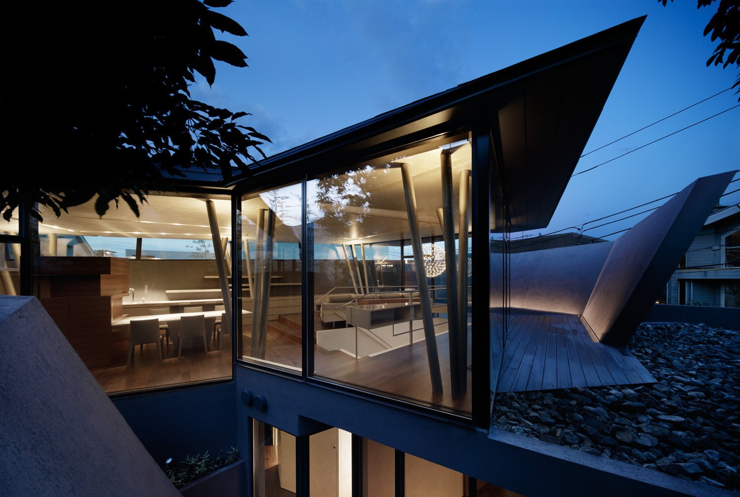 The architects describe the upstairs views as transporting the residents to a rocky mountain.