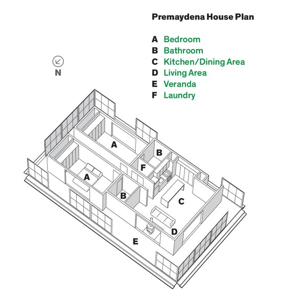 Plan of the Premaydena House.  Photo 3 of 10 in An Off-the-Grid Prefab that Combines Open Plan Living with Rugged Durability