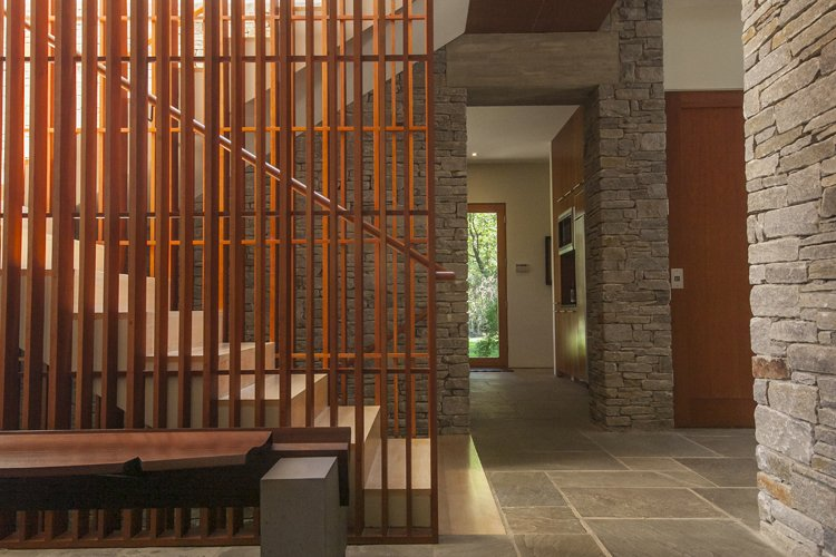 A functional residence boasting artistic architectural details, this mid-century modern home was designed by architect Mark McInturff. The property features a main house, detached guest house, garage, heated snow-melt driveway, and outdoor infinity pool.  190+ Best Modern Staircase Ideas by Dwell from Unforgettable Midcentury Homes by Modern Masters