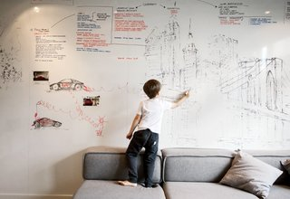 10 Best Dwell Studios and Modern Apartments - Photo 6 of 10 - An entire wall is covered with a dry-erase surface from Formica, where Parzyszek and his son Bartek can sketch.