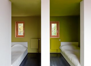 A Compact Home in Moscow Built on the Lowest Possible Budget - Photo 8 of 9 - The pared-down aesthetic of the children's bedrooms lets their chartreuse walls pop.