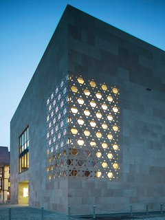 Guide to Understanding Laser, Plasma, and Water-Jet Cutting in Design - Photo 8 of 10 - Kister Scheithauer Gross Architects designed a laser jet-cut Star of David pattern for the facade, which creates a corner window in the sacral room housing the Torah.