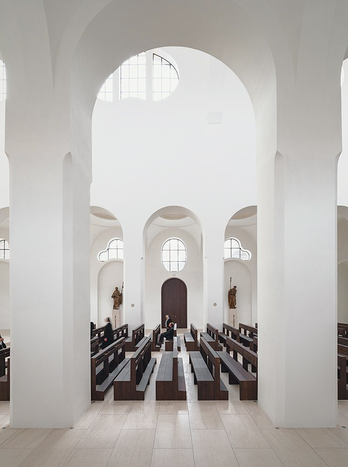 In 2013, dedicated British minimalist John Pawson tackled the interior renovation of the 1,000-year-old St. Moritz Church in Augsburg, Germany. While the layout remains traditional, modern touches like a thin onyx coating in place of stained glass add a luminescence that underscores the beauty of the traditional apses.  Photo 6 of 21 in You Won't Believe That These Incredible Modern Buildings are Chapels and Synagogues