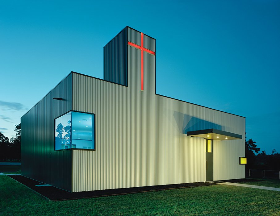In 2013, Marlon Blackwell took on an unconventional commission from an Orthodox Christian church in Arkansas, converting an old storage shed into a church with an exterior still clad in industrial box-rib metal.  Photo 9 of 21 in You Won't Believe That These Incredible Modern Buildings are Chapels and Synagogues