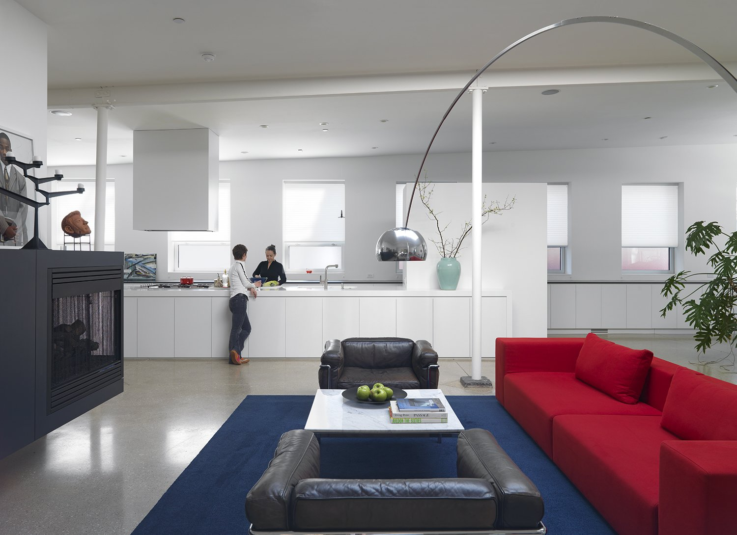 Saturation demarcates the line between the primary living space and kitchen in the existing open-plan structure. Were it not for tonal contrasts, aided also by a ground and polished concrete floor, the kitchen would be a virtual whiteout.
