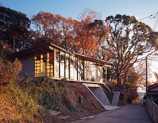 Japanese Home Among the Trees Uses Bookshelves and Glass for Walls - Photo 7 of 8 - The architects designed the steel-frame doors and windows, which were fabricated by Takeuchi Kozai.