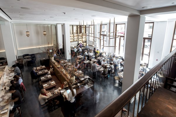 Marta, a new restaurant from Danny Meyer's Union Square Hospitality Group, along with Chef Nick Anderer of Maialino, is located in the hotel lobby.