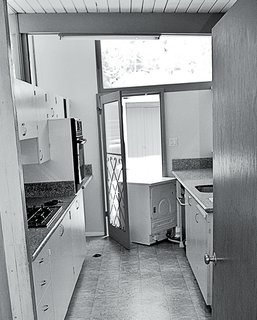 L.A. Renovation Respects Midcentury Bones (While Adding Some Flair) - Photo 4 of 15 - Prior to the renovation, the kitchen had a cramped midcentury style.