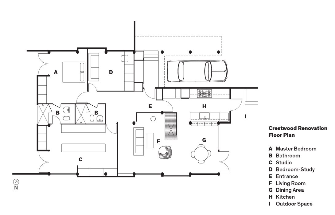 Crestwood Renovation Floor Plan  Floor Plans by Jon Poetzl from L.A. Renovation Respects Midcentury Bones (While Adding Some Flair)