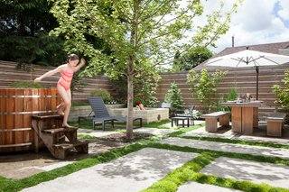 10 Modern Hot Tubs - Photo 7 of 10 - A 2,500-square-foot backyard off a Portland home was completely overhauled by architect Michael Howells. Its new design uses pavers to divide the yard into sections that include planters, a cedar soaking tub, and a fire pit.