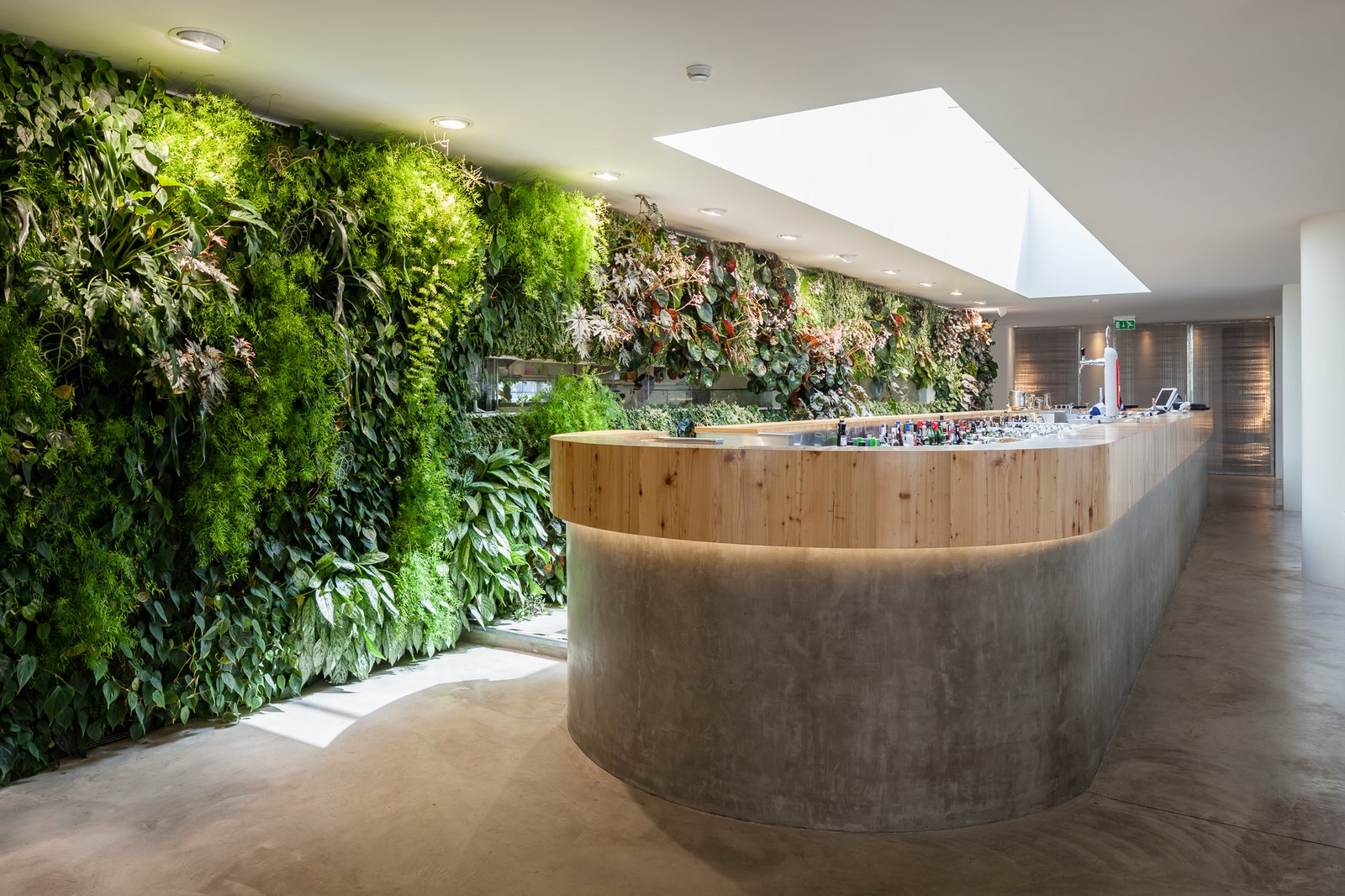 A custom bar sits underneath a retractable skylight. The material palette of the interior is simple, with white walls and concrete flooring.  Photo 4 of 6 in Vertical Gardens Spruce Up a Dusty Monument