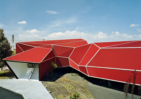The resulting building, its angular form inspired by Japanese origami—was designed and built in two and a half months in early 2007.  Photo 4 of 10 in Rojkind Arquitectos is Transforming Mexico City, One Whimsical Building at a Time