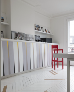 Photo of the Week: Minimal Paris Apartment Accented by Fun Pops of Color - Photo 1 of 1 -