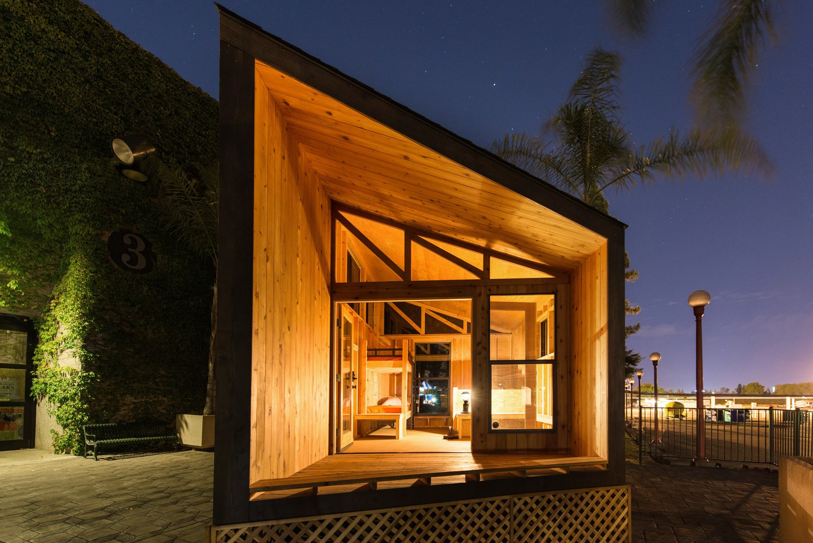 When they are eventually integrated into the parks, the cabins are meant to stand in groups of ten to 15.  Prefab by Laurie Vanderboom from Modern Prefab Cabins for California State Parks
