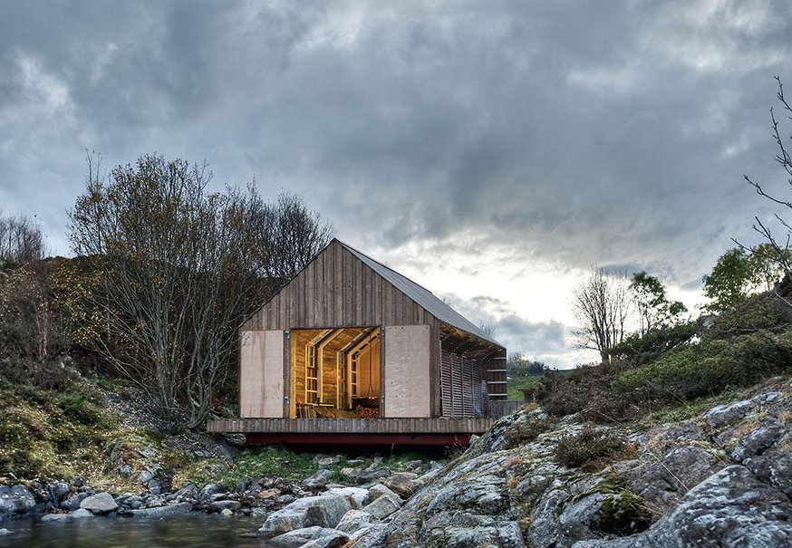 A Norwegian boathouse by TYIN featured in Cabins (Taschen, 2014).  Tiny Homes by Scott Saunders from Stunning Modern Cabins and Hideouts in a New Book