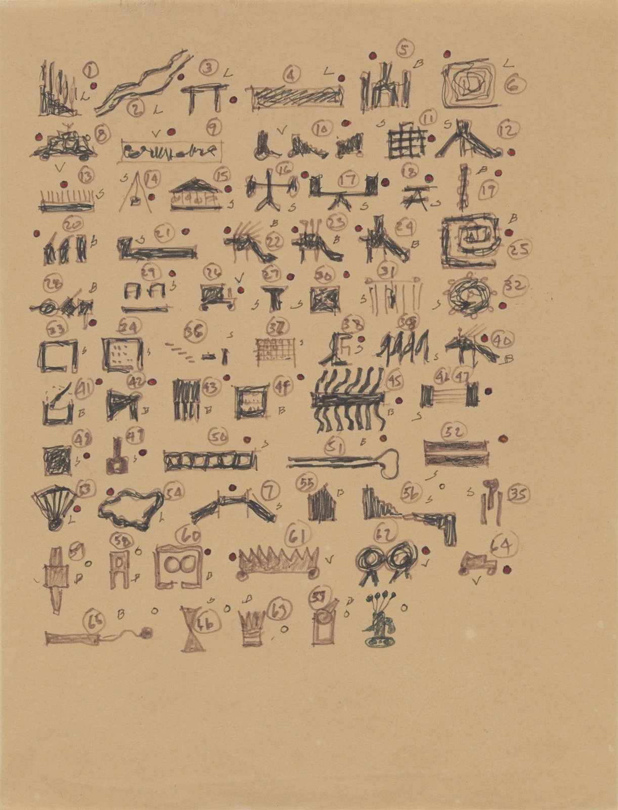 John Hejduk, Victims, 1986. Taxonomy of structures.  Photo 5 of 8 in Early Drawings by Famous Architects