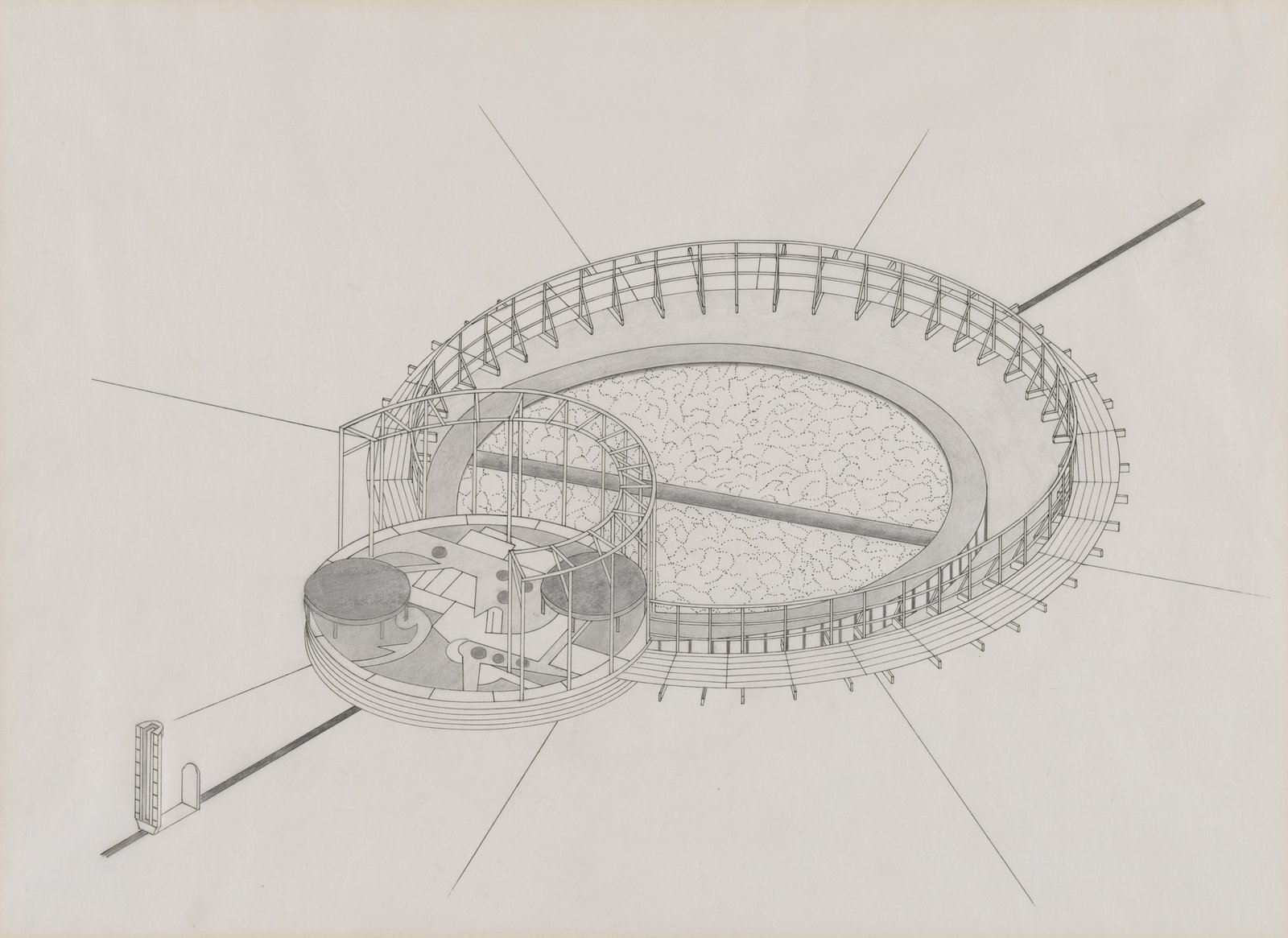 Mary Miss, study for Untitled, Bedford Square, London, 1987. Isometric projection.