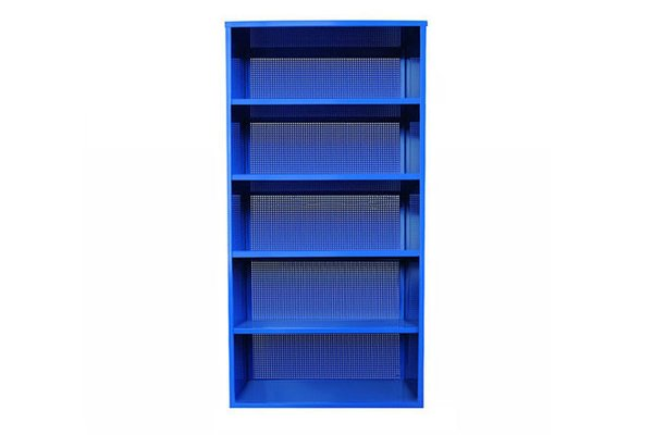 Active Duty bookcase by Heartwork, $730 heartwork.com  Better than your average office shelving: It's perforated, manufactured in America, and available in a new colorway, a vibrant royal blue.