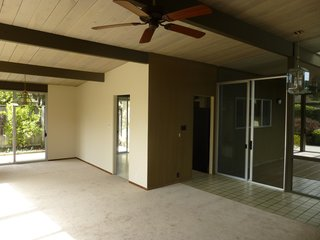 Sunny Renovation of an Eichler Great Room - Photo 4 of 5 - This shot shows how the space was previously partitioned.