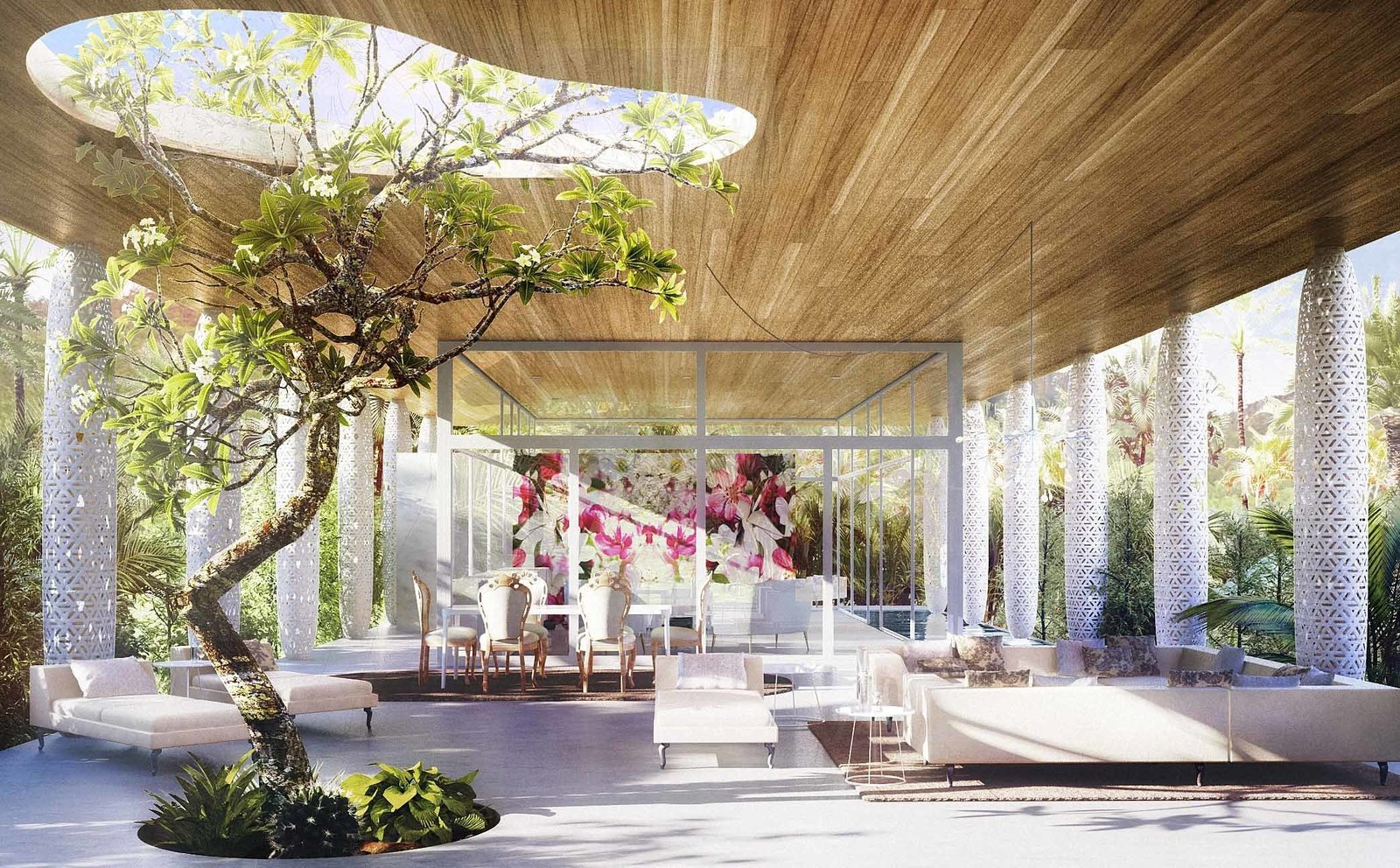 Eden by Marcel Wanders  Never formally trained as an architect, Wanders unveils his very first house, and it's distinguished by its emphasis on transparency. A small portion of the space is enclosed by glass walls. The flat roof is upheld by white, ornately decorated columns.